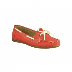 BELGRAVIA Ladies Moccasin Boat Shoes Red