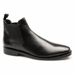 BELLAMY Mens Leather Welted Chelsea Boots Black