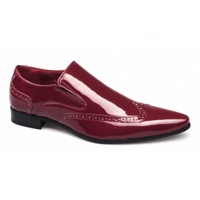 Rossellini BELLO Mens Brogue Patent Shoes Red