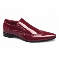 BELLO Mens Brogue Patent Shoes Red