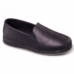 BEN Mens Leather Wide Fit Full Slippers Black