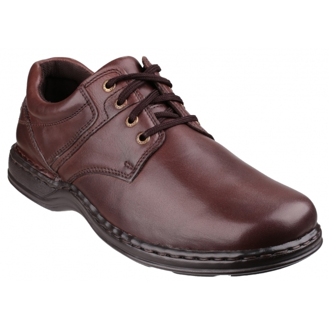 Hush Puppies BENNETT Mens Casual Plain Leather Dual Fit Shoes Brown