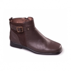 BERBERRY Ladies Leather Buckle Ankle Boots Dark Brown