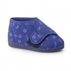 BETTY Womens Super 4E Wide Fit Velcro Floral Slippers Blue