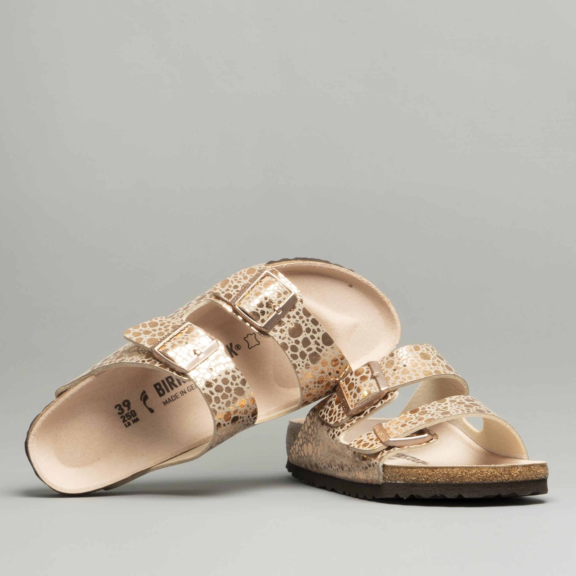 df6107e34 Birkenstock ARIZONA 1006685 Two Strap Sandals Metallic Stones Copper ...