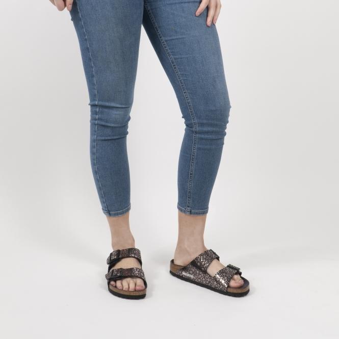 ARIZONA 1008872 (Nar) Ladies Birko Flor Two Strap Sandals Metallic Stones Black
