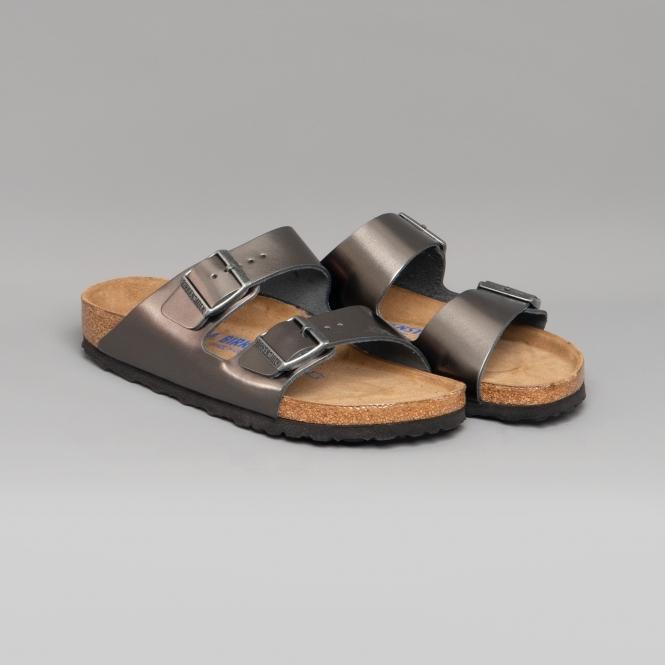 Birkenstock ARIZONA 1009367 (Nar) Ladies Vegan Two Strap Sandals Anthracite