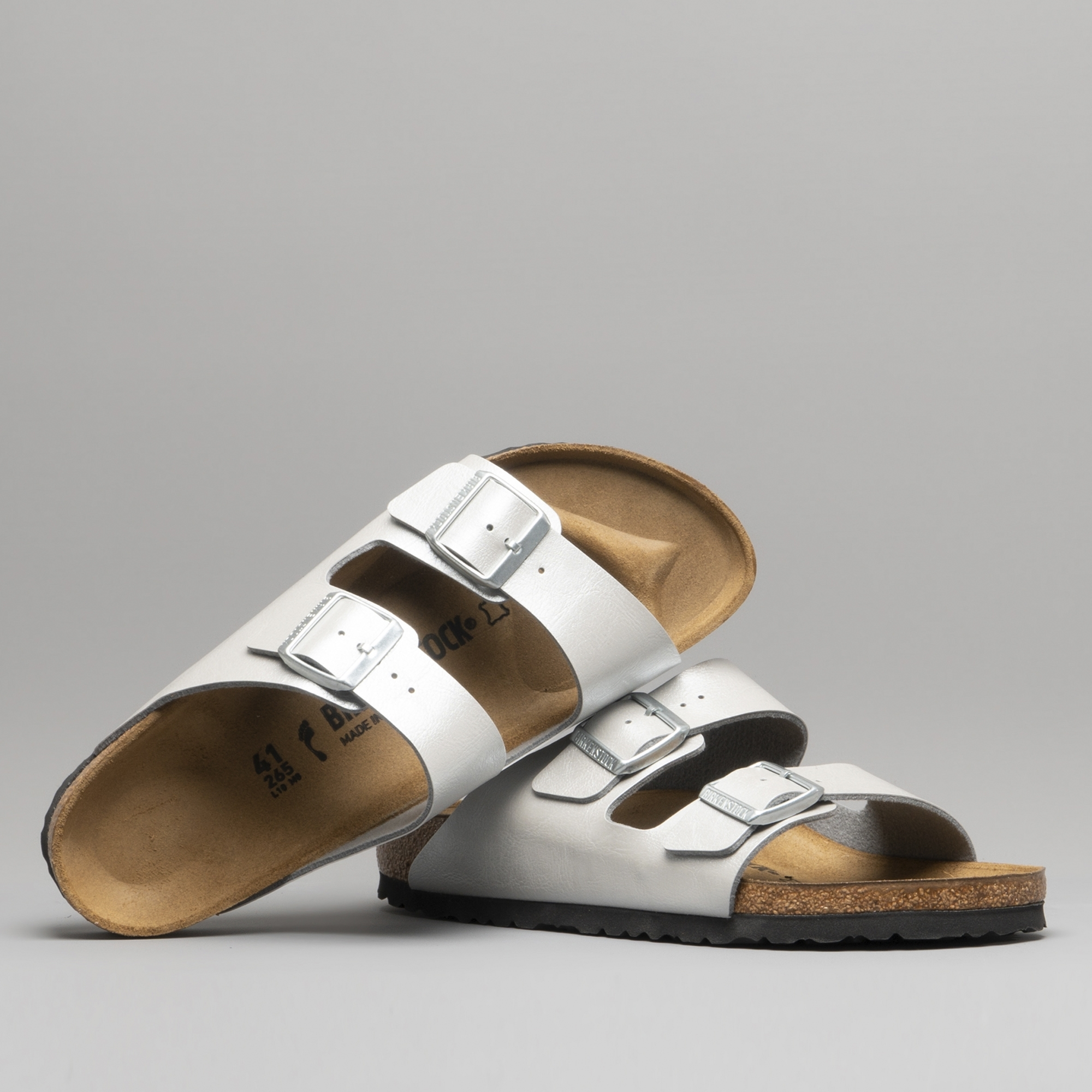 52148c39de8 Birkenstock ARIZONA 1009603 Ladies Two Strap Sandals Silver