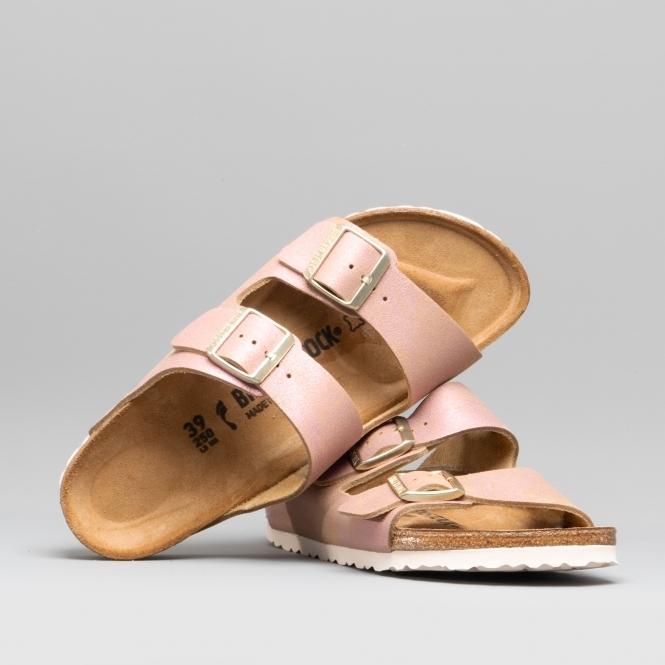 Details about Birkenstock ARIZONA 1012876 (Nar) Ladies Suede Two Strap Sandals Metallic Pink