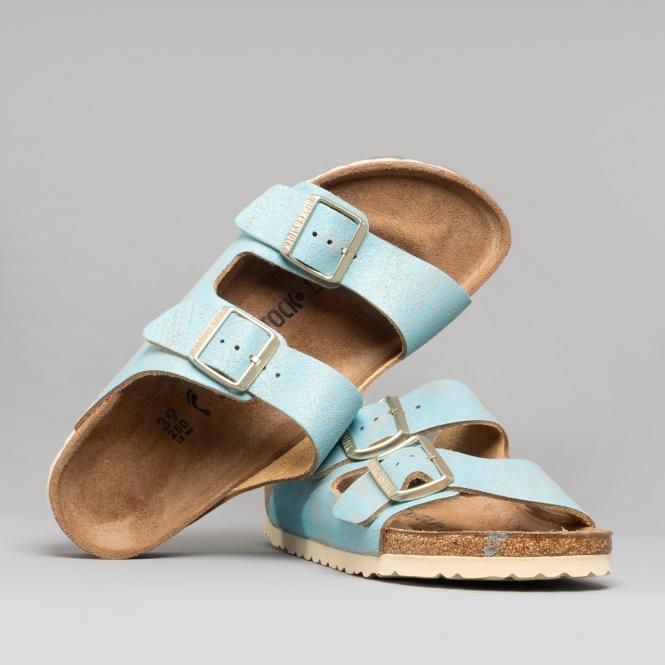 55525f0feb43b ARIZONA 1012878 (Nar) Ladies Suede Two Strap Sandals Washed Metallic Aqua