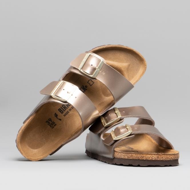 5e6590cb9226e Birkenstock ARIZONA 1012972 (Nar) Ladies Birko-Flor Two Strap Sandals Electric  Metallic Taupe   Shuperb