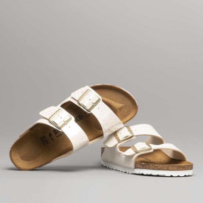 ARIZONA 57623 (Nar) Ladies Birko Flor Two Strap Sandals Snake Cream