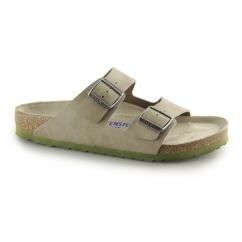 ARIZONA Mens Dual Buckle Slip On Sandals Desert Taupe/Green