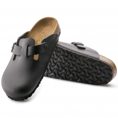 Birkenstock BOSTON Unisex Leather Narrow Mule Sandals Black