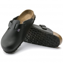 Birkenstock BOSTON Unisex Soft Leather Mule Sandals Black