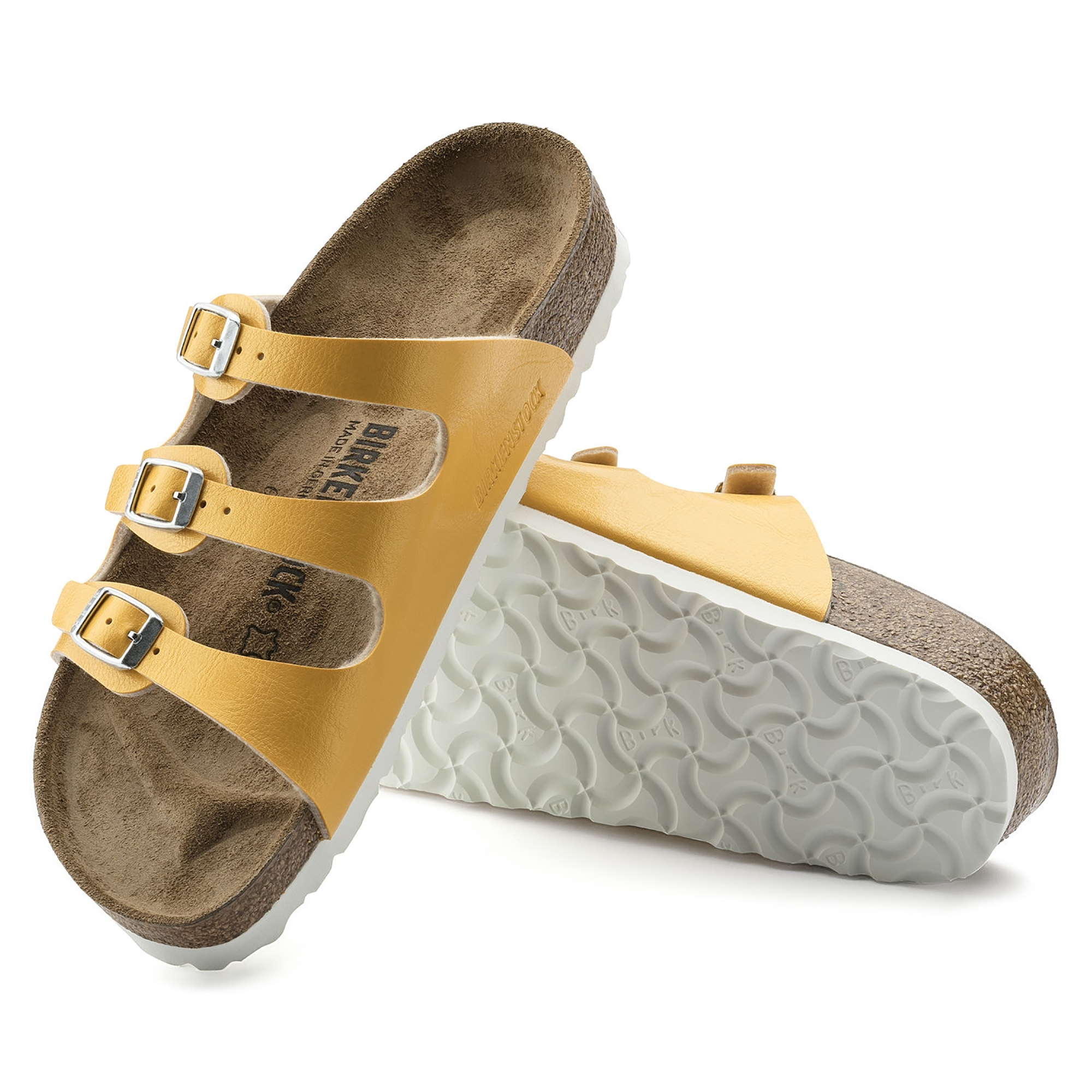 52ab190d75a Birkenstock FLORIDA 1008852 Ladies Three Strap Sandals Amber Yellow ...
