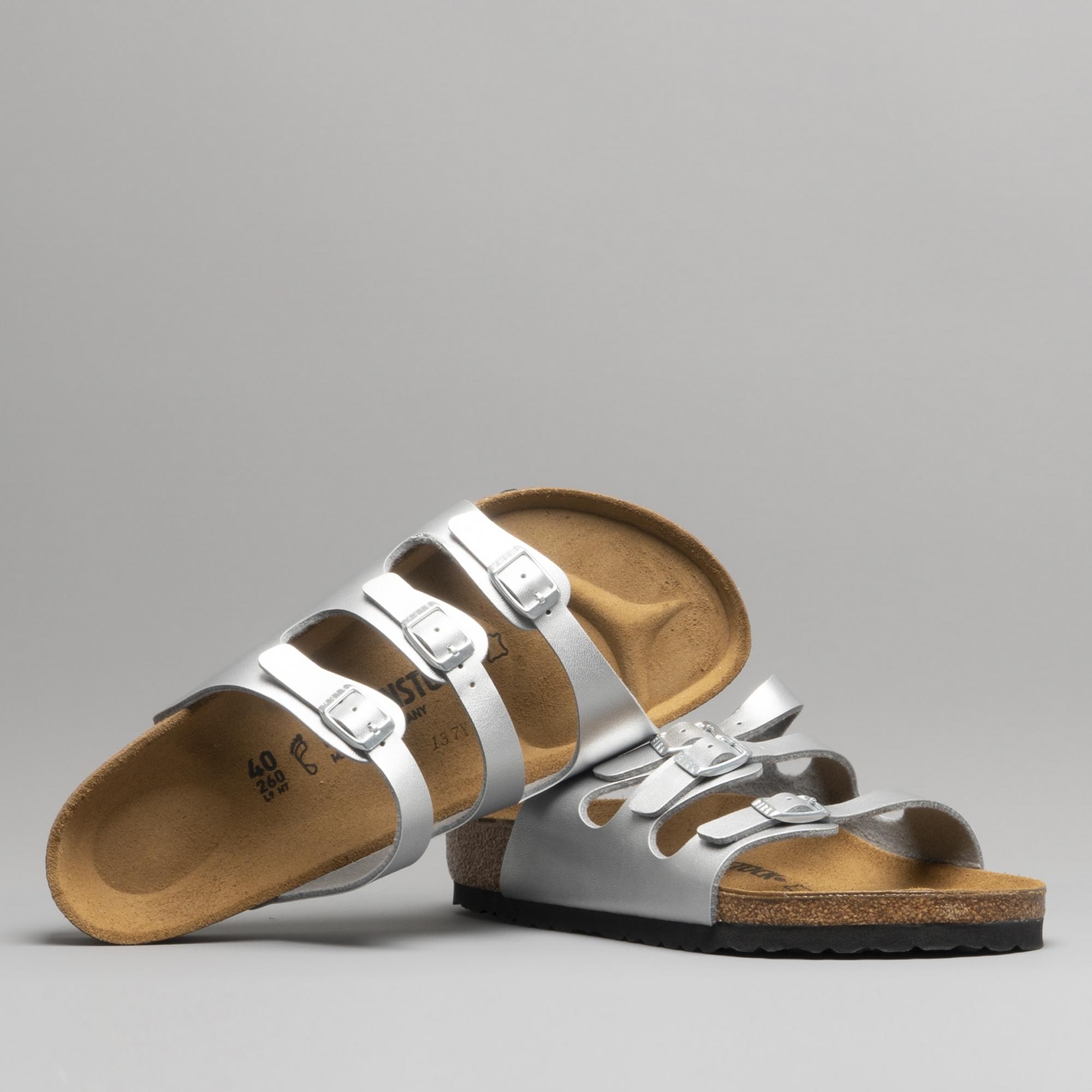9b90416a3 Birkenstock FLORIDA 954381 Ladies Three Strap Sandals Silver