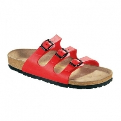 FLORIDA Ladies Slip On Triple Buckle Sandals Cherry