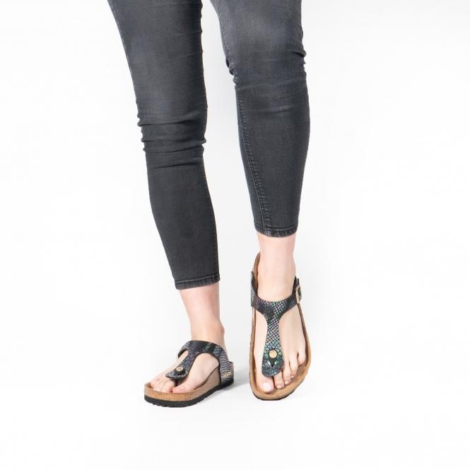 GIZEH 1003464 (Reg) Ladies Birko Flor Toe Post Sandals Snake Black Multi