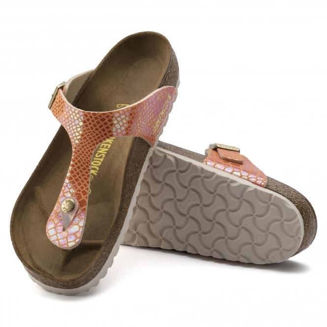 6f4a6633e561 Birkenstock GIZEH 1005285 Ladies Regular Fit Sandals Snake Orange