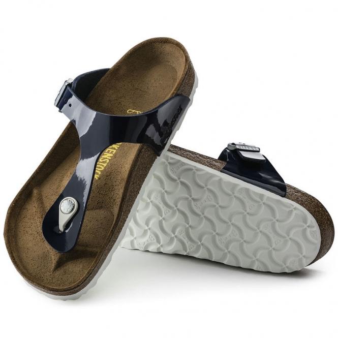 38e75d43b608 Birkenstock GIZEH 1005301 Ladies Toe Post Sandals Patent Dress Blue ...