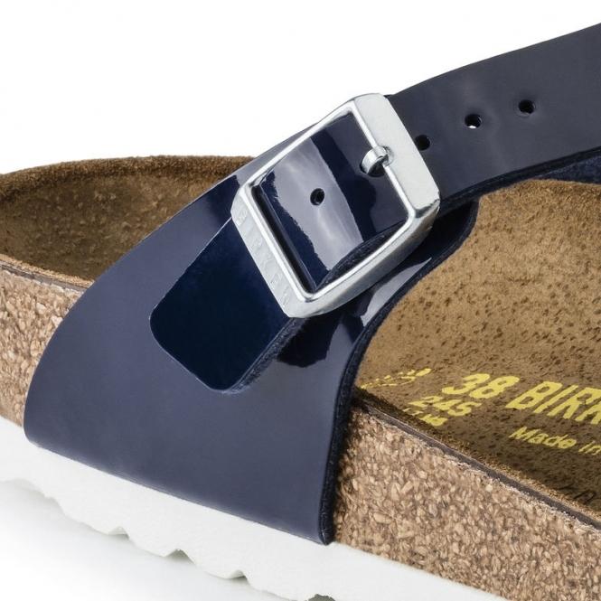 6f0e336d2ae Birkenstock GIZEH 1005301 (Reg) Ladies Birko-Flor Toe Post Sandals Patent  Dress Blue