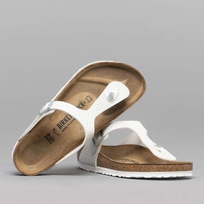 a09107ce09e Birkenstock GIZEH 1009115 Ladies Toe Post Sandals Snake White