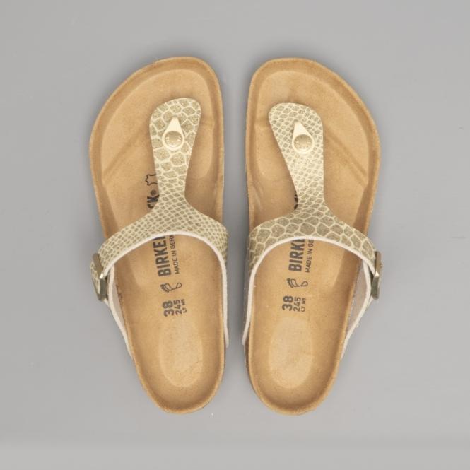 newest c4fce cf1d7 Birkenstock GIZEH 1011770 (Reg) Ladies Birko-Flor Toe Post Sandals Magic  Snake Gold