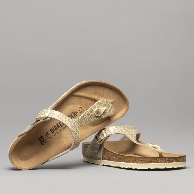 wholesale dealer 8e04b 40d34 GIZEH 1011770 (Reg) Ladies Birko-Flor Toe Post Sandals Magic Snake Gold