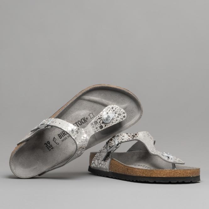 c752c4feac0 Birkenstock GIZEH 1011910 Metallic Stones Silver Grey
