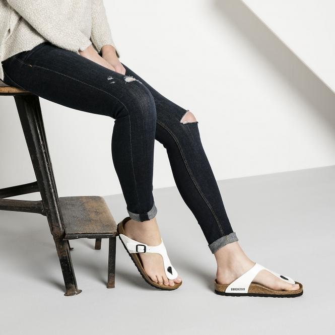 d85d61c95 Birkenstock GIZEH 543761 (Reg) Ladies Birko-Flor Toe Post Sandals Patent  White