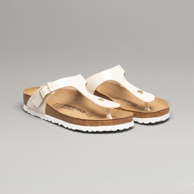 GIZEH 847431 (Reg) Ladies Birko Flor Toe Post Sandals Snake Cream