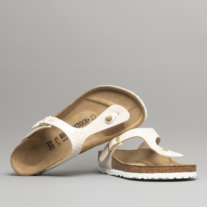 d707f389da1 Birkenstock GIZEH 847431 Ladies Toe Post Sandals Snake Cream