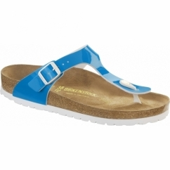 GIZEH Ladies Buckle Toe Post Sandals Neon Blue