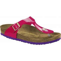 GIZEH Ladies Toe Post Buckle Sandals Patent Pink/Violet Sole