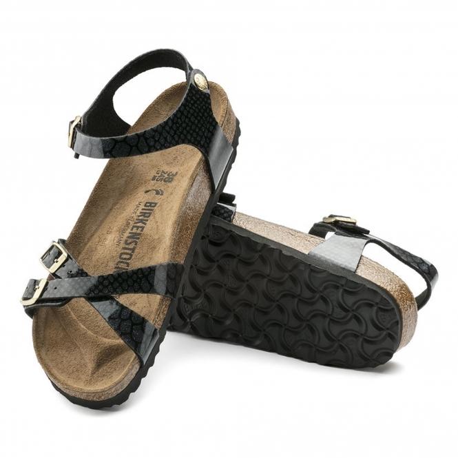 70bc55688e55 Birkenstock KUMBA 1009134 Ladies Cross Strap Sandals Snake Black ...