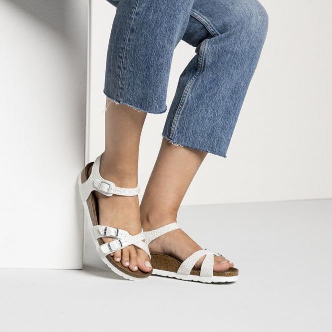 a5323caec3ba Birkenstock KUMBA 1009137 Ladies Cross Strap Sandals Snake White ...