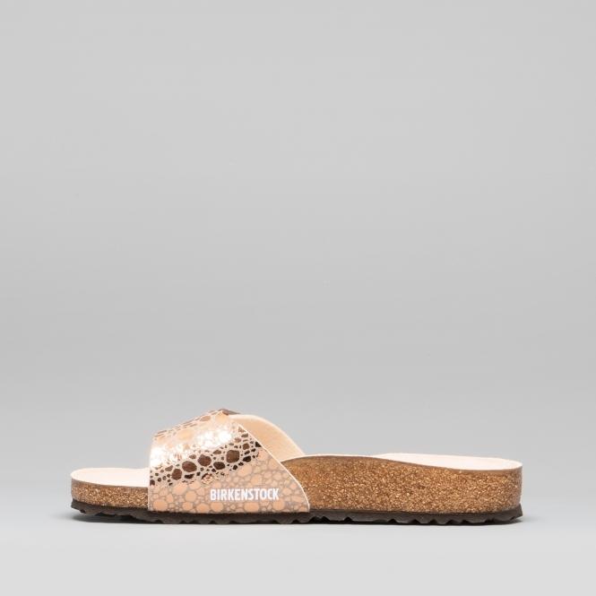 official photos 6ae43 326a8 MADRID 1006692 (Reg) Ladies Birko-Flor One Strap Sandals Metallic Stones  Copper