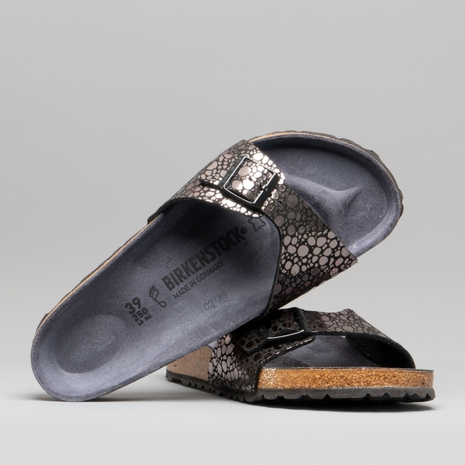 innovative design a73d2 a3fd2 MADRID 1008803 (Reg) Ladies Birko-Flor One Strap Sandals Metallic Stones  Black