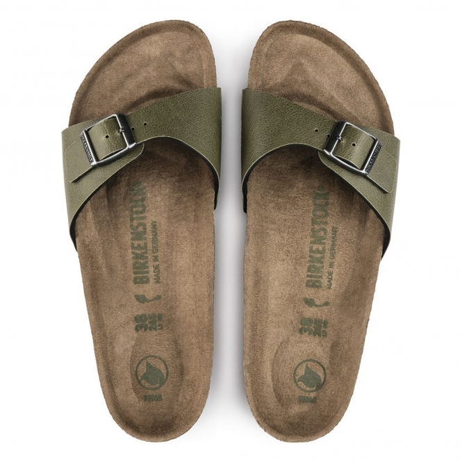 5cc7311af13 Birkenstock MADRID 1009984 Ladies Vegan One Strap Sandals Olive ...