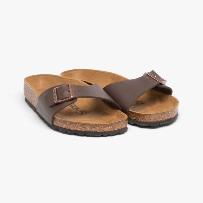 MADRID 40391 (Reg) Ladies Birko Flor One Strap Sandals Dark Brown