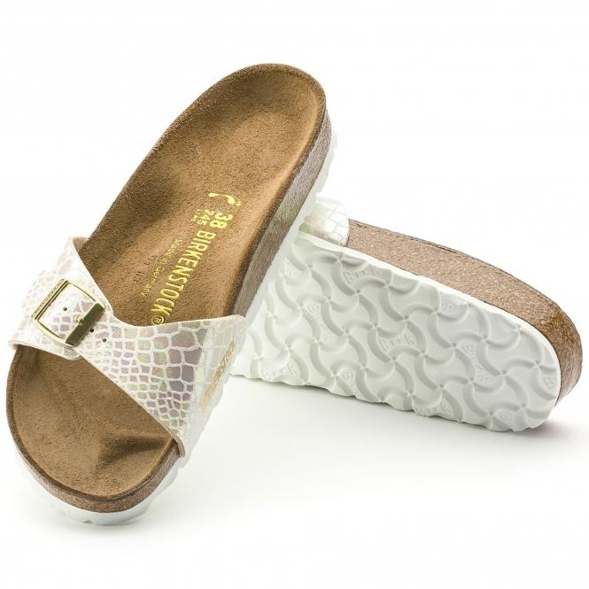 967b027a07f3 Birkenstock MADRID 439911 Ladies Regular Fit Sandals Snake Cream