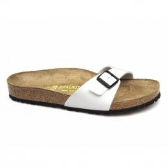 MADRID Ladies Buckle Flat Narrow Lack-White