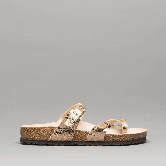 fd598ed92b21 Birkenstock MAYARI 1006733 (Reg) Ladies Birko-Flor Cross Strap Sandals  Metallic Stones Copper