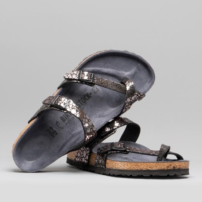 a09da235be1 MAYARI 1008809 (Reg) Ladies Birko-Flor Cross Strap Sandals Metallic Stones  Black