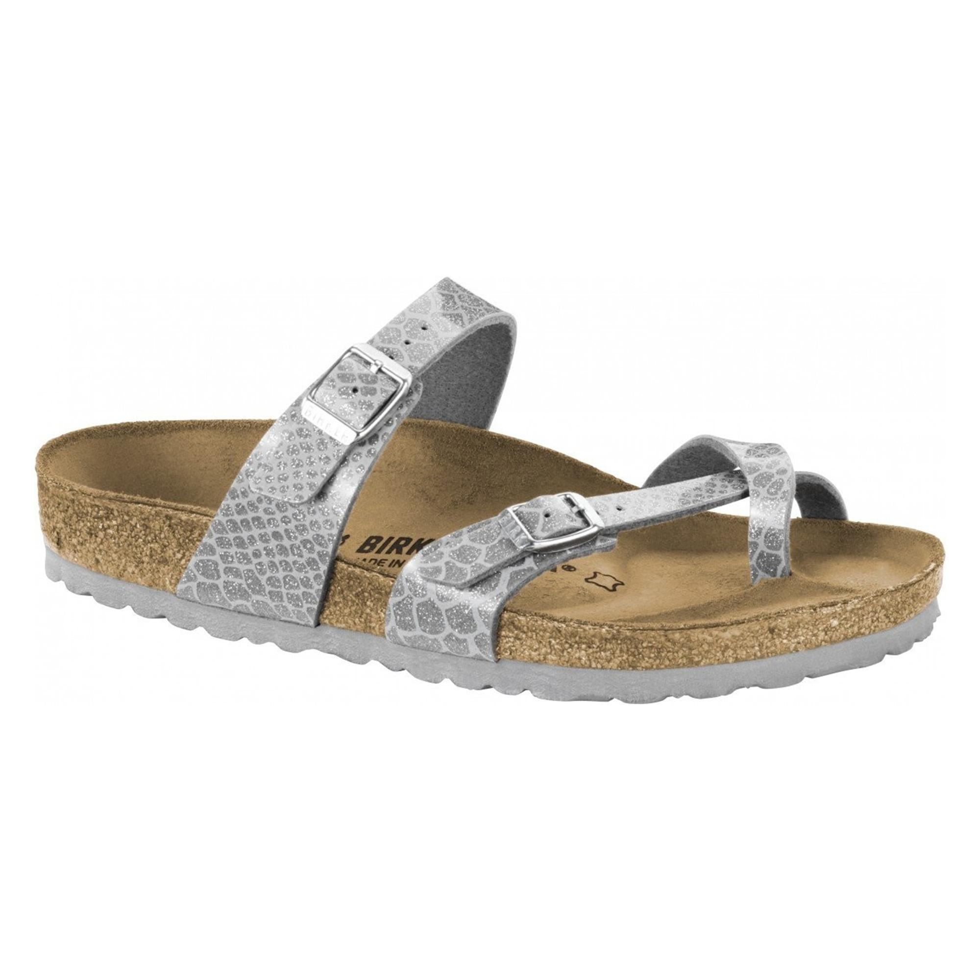dcf567026a9 Birkenstock MAYARI 1009109 Ladies Cross Strap Sandals Snake Silver ...