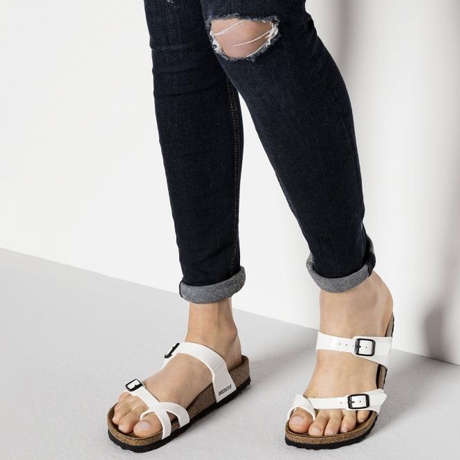 4cf5fa389 Birkenstock MAYARI 71221 (Reg) Ladies Birko-Flor Cross Strap Sandals Patent  White