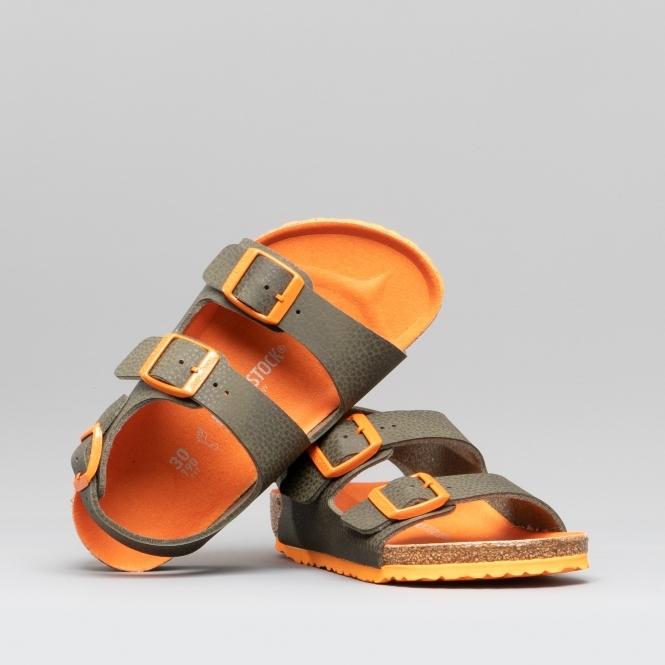f28f864afd9 Birkenstock MILANO 1012591 (Reg) Kids Birko-Flor Two Strap Sandals Desert  Soil Green | Shuperb