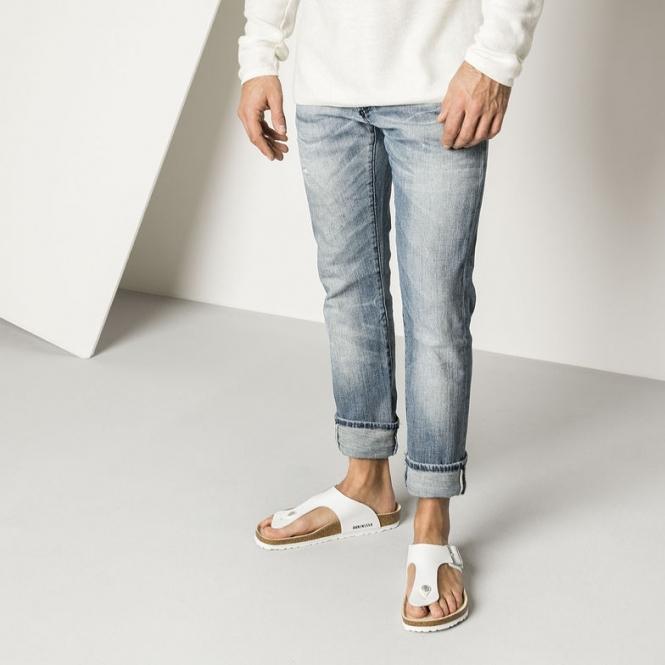 b70c6e843419 Birkenstock RAMSES 44731 (Reg) Mens Birko-Flor Toe Post Sandals White