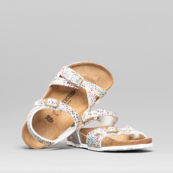 f1a1e53313baa RIO 1009451 (Reg) Kids Microfiber Two Strap Sandals Oriental Mosaic White